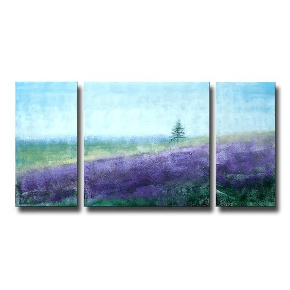 Hand-painted 'Sea of Lavender' 3-piece Gallery Wrapped Canvas Art