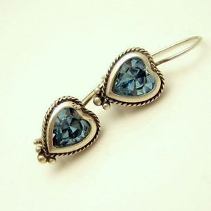 Sterling Silver Aqua Blue Foiled Glass Heart Shaped Earrings from #MyClassicJewelry - Shop our entire collection today: http://stores.ebay.com/My-Classic-Jewelry-Shop