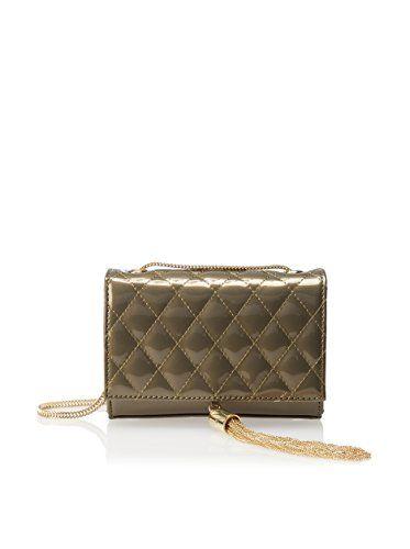 Small and sassy design with quilt-like detail, fringe trim, inner slip pocket