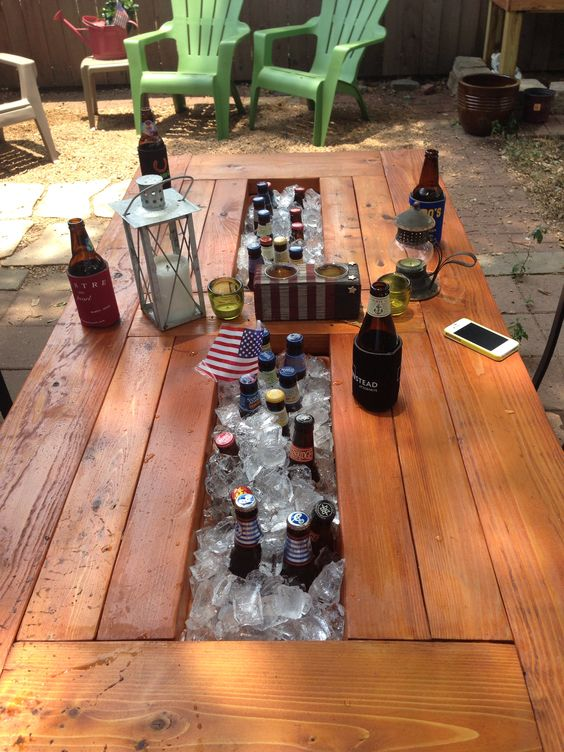 Backyards summer and boxes on pinterest for Table with cooler in middle