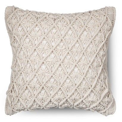 Threshold Macrame Throw Pillow- Cream