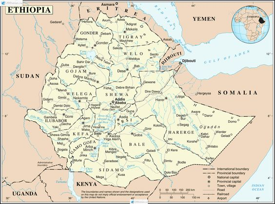 Road Map Of Ethiopia Administrative Map Of Ethiopia With All - Gondar map