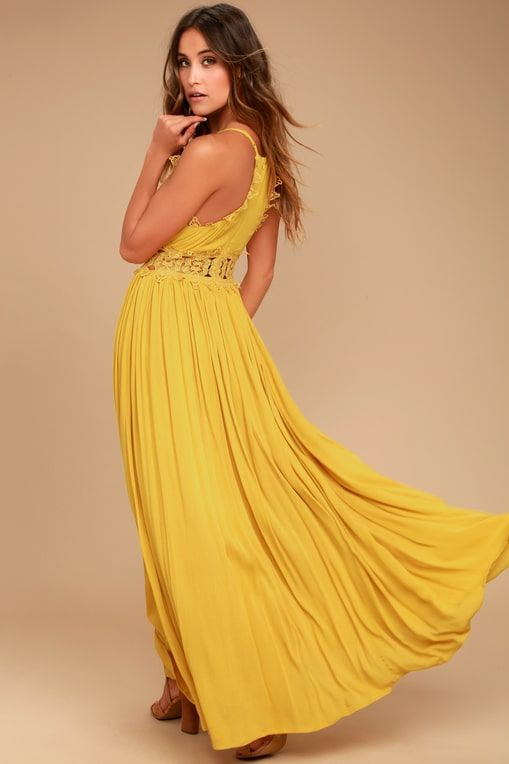 This is Love Mustard Yellow Lace Maxi Dress   Yellow maxi