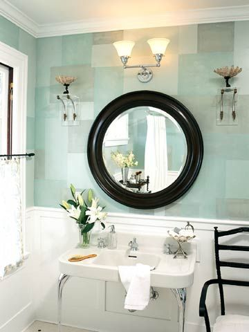 "blue and tidewater green mosaic paint design from ""better homes & gardens""  http://www.bhg.com/bathroom/color-schemes/colors/pastel-baths/#page=3"