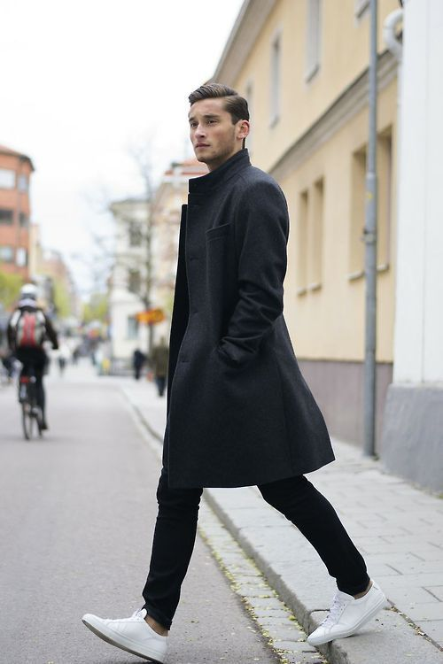 Black winter coat with brown shoes