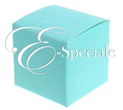 Scatolina Acquamarina Cubo - Prodotti per Battesimo / Baby Shower - Confetti Caramelle e Confettata - Sacchettini e Scatoline - accessori e gadget per matrimoni e feste - E-speciale