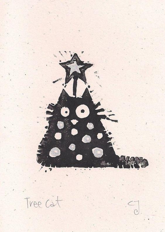 Tree Cat - lino cut print Christmas card (silver) £2.40