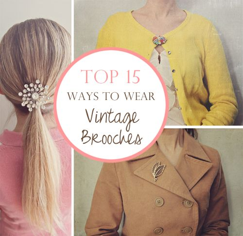Top 15 Ways to Wear Vintage Brooches :: Thrifty Fashion Fridays with Susan Tuttle