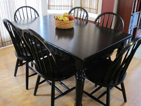 tutorial on painting dining room table and chairs...don't know if we'll paint or stain, but it will be black!