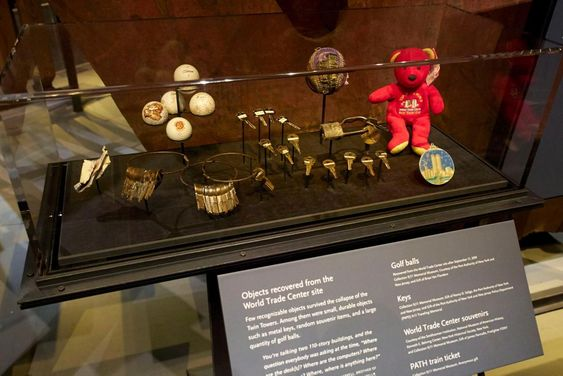 Objects recovered from the World Trade Center site are seen on display during a press preview of the National September 11 Memorial Museum.