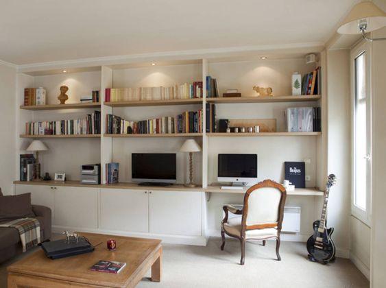 Envie D Une Bibliotheque Sur Mesure Elle Decoration Bibliotheque Avec Bureau Integre Bibliotheque Salon Meuble Rangement Salon