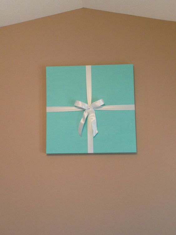 Canvas Tiffany Blue Paint White Ribbon Diy Tiffany Box