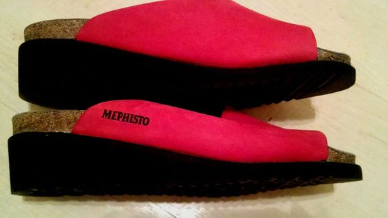 Mephisto Sandals Air Relax Cork Bed Reflex Zone Slides Red sz 37 US 6.5-7 $185