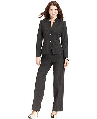 Tahari by ASL Suit, Pinstriped Blazer & Pants - Womens Suits