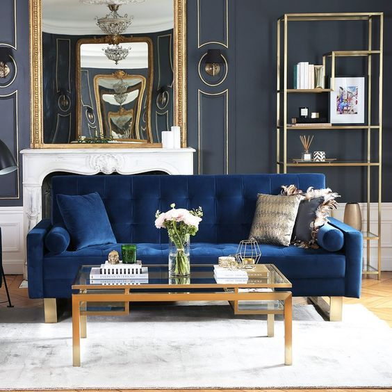 Interior Design Goals Navy Blue Indigo Couch Made Of Velvet Accented With Brass Rectangle L Gold Living Room Blue And Gold Living Room Blue Sofas Living Room #navy #blue #and #gold #living #room #decor