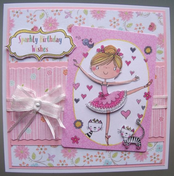 Another card for the Library Challenge based on the book 'Ballet Shoes', using another image from the Dovecraft Whizz Kids decoupage pad.