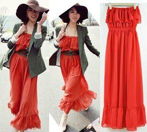 Romantic Ruffled Maxi Bandeau Dress Red