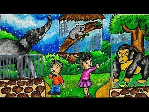 Cara Menggambar Pemandangan Kebun Binatang Gajah Koala Gorila