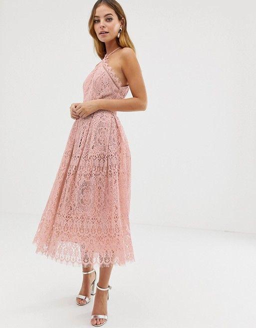 Asos Design Petite Lace Midi Dress With Pinny Bodice Asos Asos Lace Dress Midi Bridesmaid Dress Petite Bridesmaids Dresses
