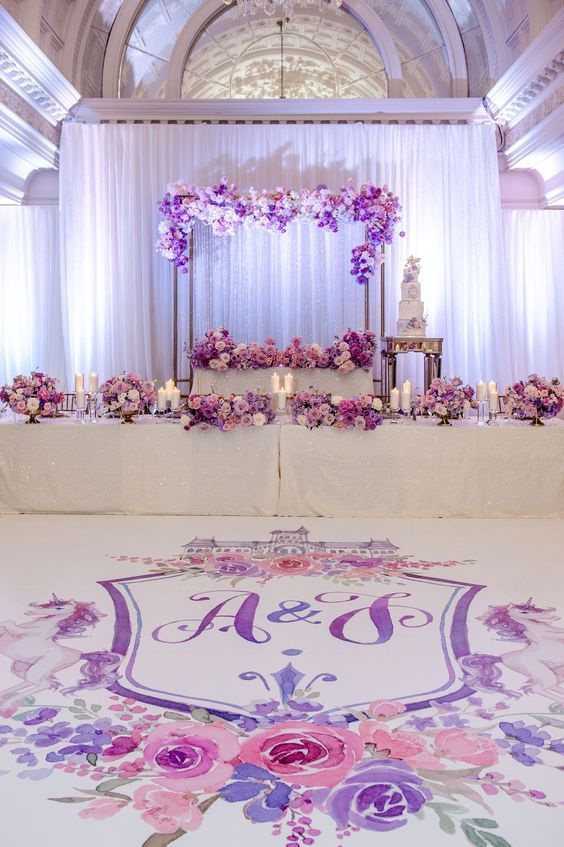 Ombre purple wedding floral decor