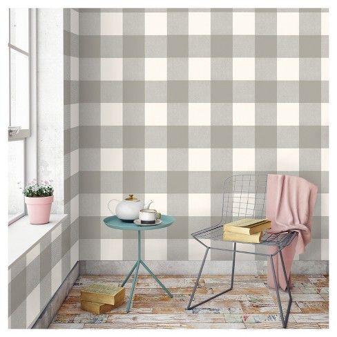 Buffalo Plaid Peel Stick Wallpaper Gray Threshold Peel And Stick Wallpaper Plaid Wallpaper Buffalo Plaid