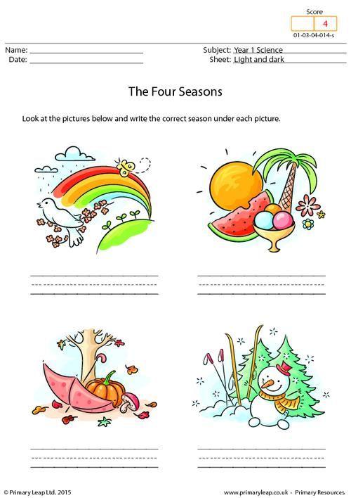 math worksheet : primaryleap co uk  writing the four seasons worksheet  science  : Kindergarten Seasons Worksheets
