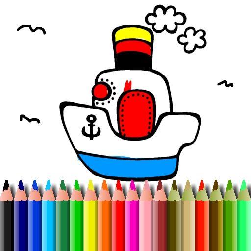 لعبة بتس كتاب تلوين القارب Bts Boat Coloring Book Boat Cartoon Coloring Books Boat