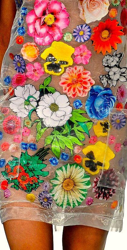 applique flowers on transparent fabric Christopher Kane Spring 2012 RTW