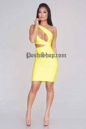 Justine Bandage Dress - Acid Yellow