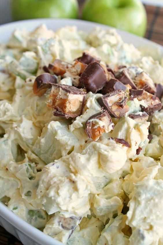 Snicker Apple Salad. Takes 10 minutes to whip up and everyone loves it. Perfect for potlucks. ~ http://reallifedinner.com