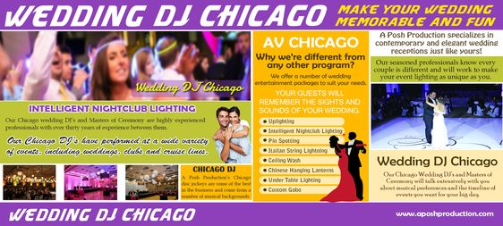 Look at this web-site https://www.facebook.com/Chicago-Photo-Booth-Rental-576289052552944/ for more information on Wedding DJ Chicago. Our Wedding DJ Chicago and Masters of Ceremony will talk extensively with you about musical preferences and the timeline of events you want for your big day. Our seasoned professionals know every couple is different and will work to make your event lighting as unique as you. We offer a number of wedding entertainment packages to suit your needs.