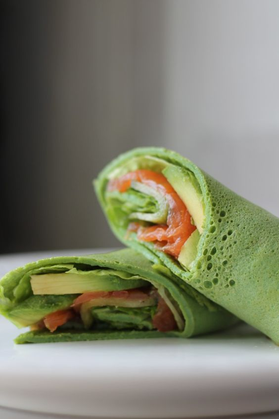 Spinach Crepe with Smoked Salmon & Avocado