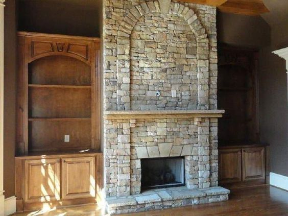 Stone Fireplace With Built In Shelves On The Sides Houses Pinterest Beautiful We And Shelves