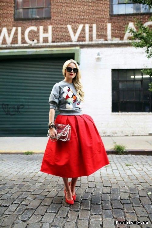 midi red skirt.