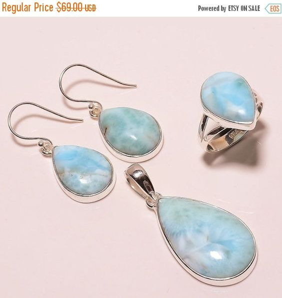 Sale  silver jewelry set larimar jewelry by ENTICESILVERSTORE