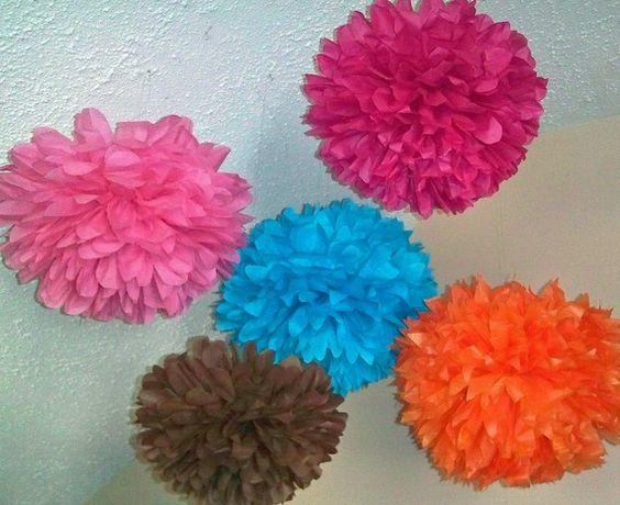 Tissue paper poms. Set of 7 poms. Pick your colors