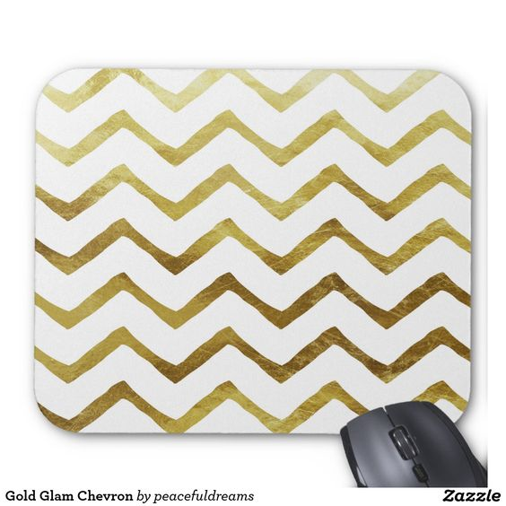 Gold Glam Chevron Mouse Pad