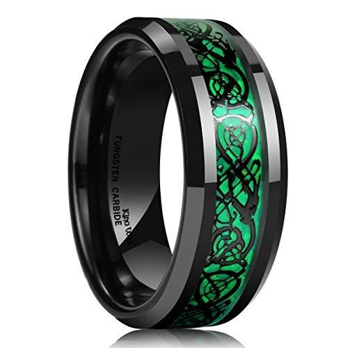Black Ion-plated Celtic Cut-out Design Inlay Beveled Edge Comfort Fit Unisex Tungsten Ring Wedding Anniversary 8mm