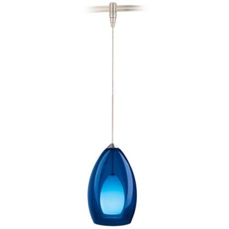 blue pendant lights kitchen fire satin nickel cobalt blue glass monorail pendant 82960 blue pendant lighting