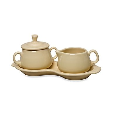 FIESTA Sugar and Creamer with Tray Ivory $34.95 - FREE SHIPPING - BEST PRICE GUARANTEED - BUY AT SALVATORI'S - BEVERLY HILLS * FREE GIFT WITH EVERY PURCHASE* http://www.shopsalvatori.com/fiesta-sugar-and-creamer-with-tray-ivory-34-95/