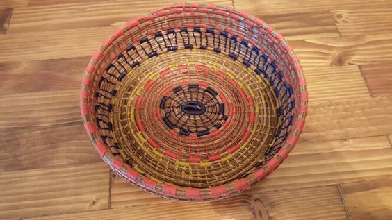 Round multicolored medium size basket - $30 - Available