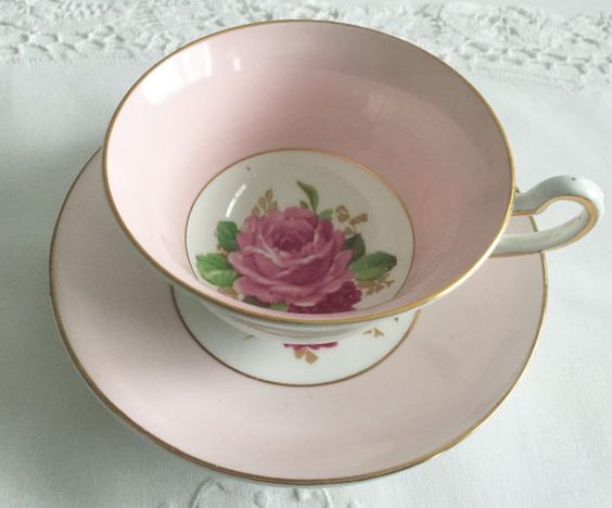 Lovely Rosina Tea Cup & Saucer by NicerThanNewVintage on Etsy