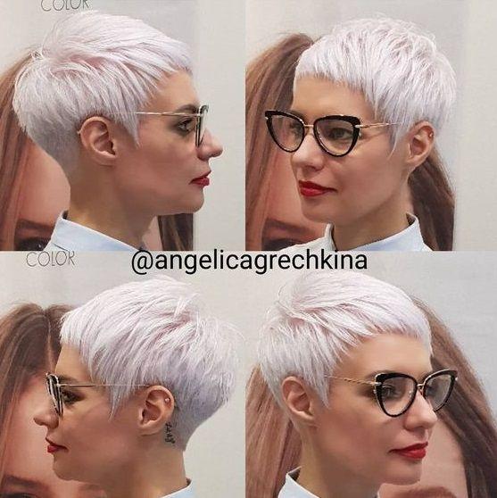 Mit damen kurze brille haare Frisuren Für
