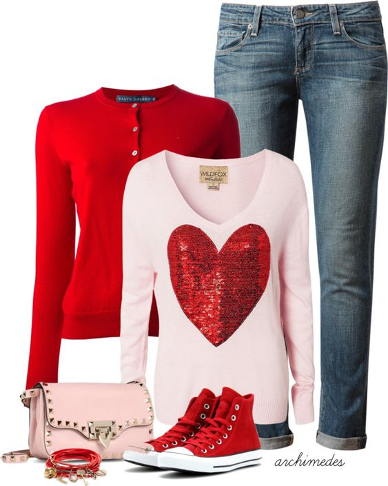 casual cute valentine outfit: