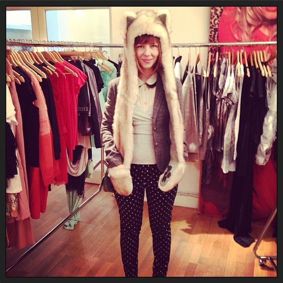 Daria from Romanian fashion blog Kittenhood wearing a Spirithood at our showroom