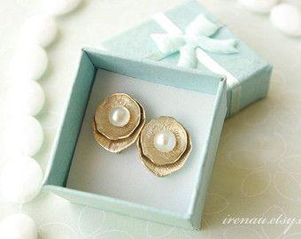 Süßwasser Perle Goldohrringe Gold Perle Ohrringe Juni von nesstudio
