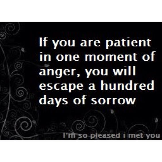 """""""If you are patient in one moment of anger, you will escape a hundred days of sorrow."""""""