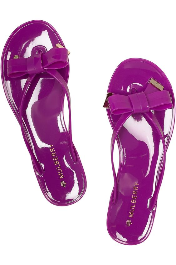 Mulberry bow-detailed flip flops