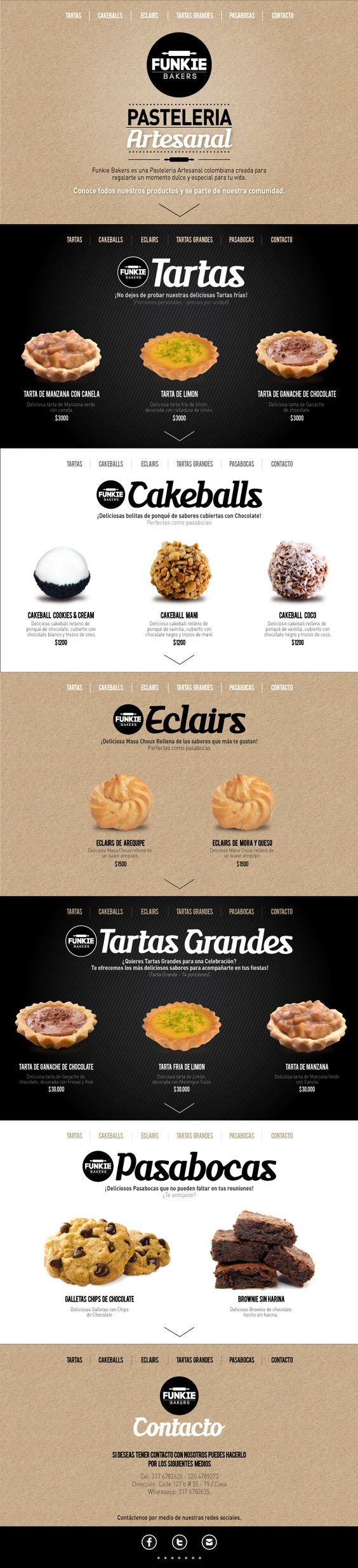 Web Design - Funkie Bakers http://www.behance.net/JuanitaGarcia - i love the divided sections