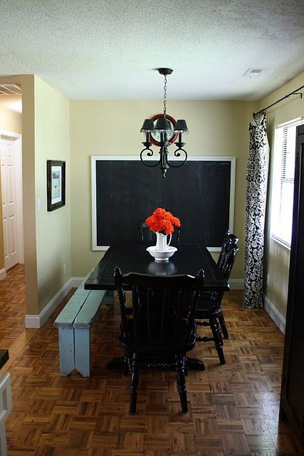 Huge framed chalkboard this is a dining room homeschool for Homeschool dining room ideas